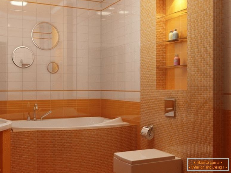 The combination of white and orange tiles on the walls