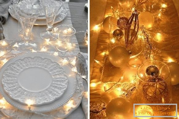 Garland LED as decoration of the New Year's table