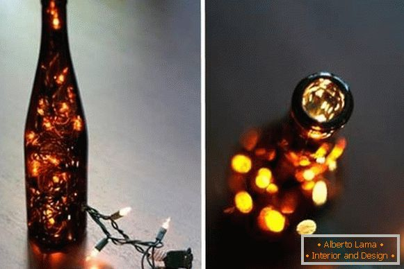 LED led garland in the decor of the wine bottle