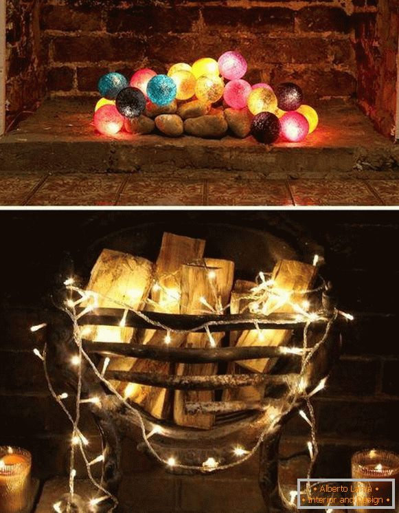 LED garland balls and ordinary as a fireplace decor