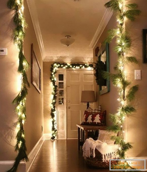 Garland LED white - the idea of ​​decorating a house for the New Year