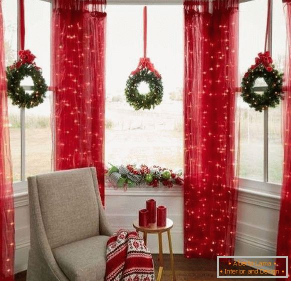 Christmas tree garland for window decoration and curtains