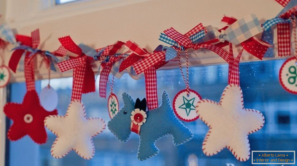 Christmas garland on the window