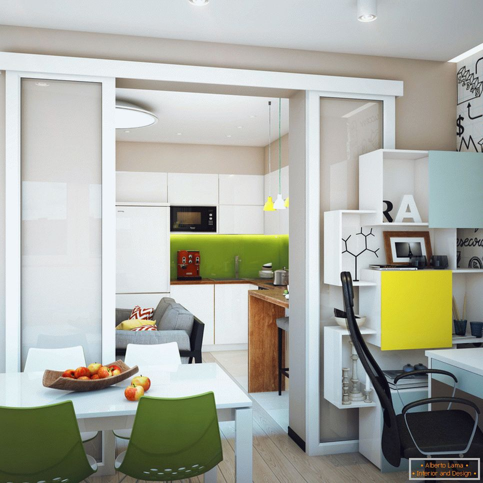 Dining room of a student apartment in Novosibirsk