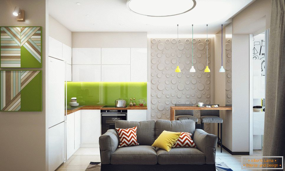 Living room and kitchen of a student apartment in Novosibirsk