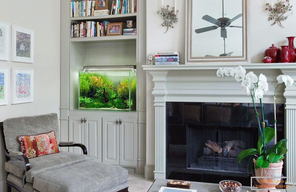 Aquarium in the living room with fireplace