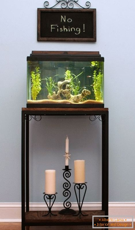 Small aquarium on the nightstand