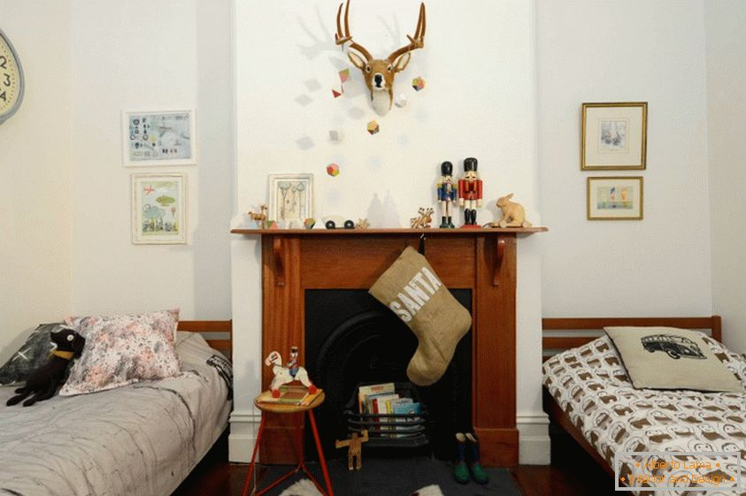 Children's decor with a fireplace