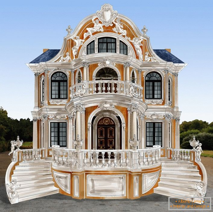 Luxury project of a house in the Baroque style.