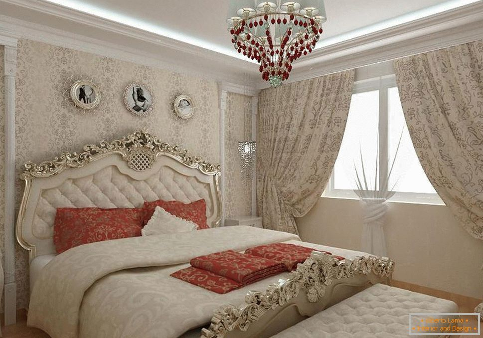 Baroque bedroom in a city apartment. Massive curtains, a bed with wooden carved backs and a chandelier