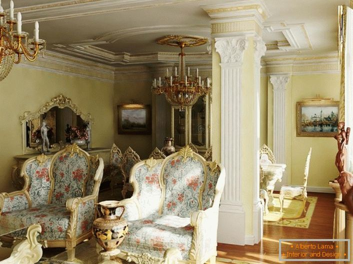 Massive chairs with floral upholstery in a baroque guest room. Ceilings and a column are decorated with stucco from plasterboard.