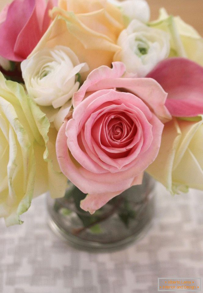Here is such a beautiful bouquet of roses will stand on your table