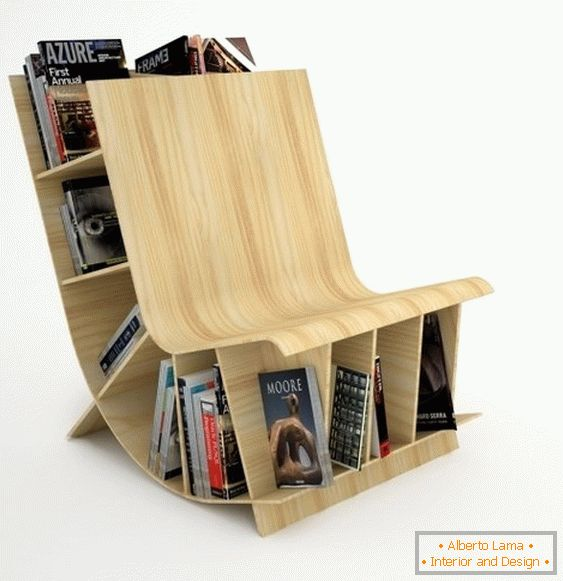 Wooden chair-bookcase from the studio Fishbol Design Atelier