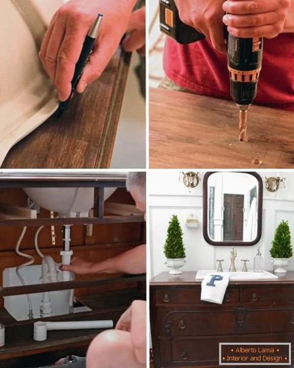 Sink to the sink with your hands - photo for the built-in sink