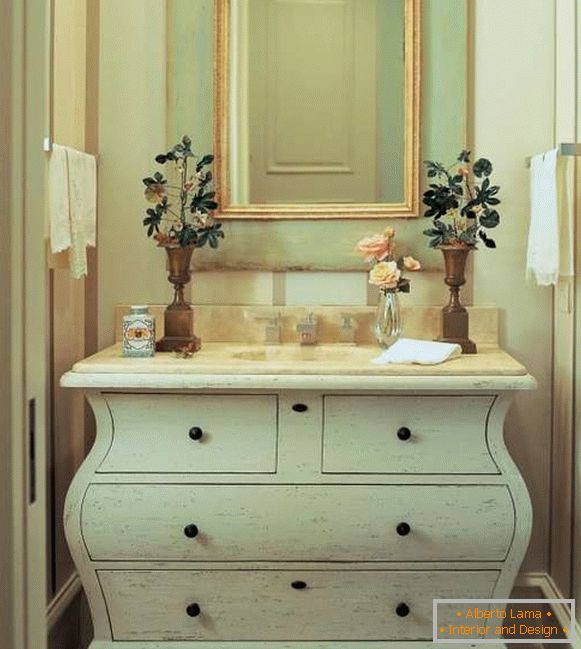 Luxurious bedside table under the washbasin in the bathroom with your own hands