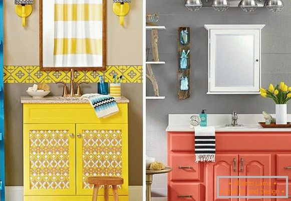 Bright bedside table under the sink with your hands from old furniture