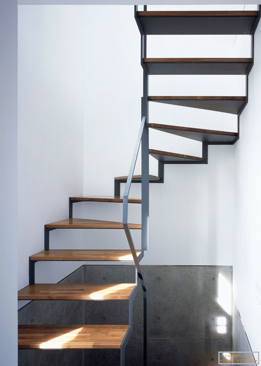 Stairs in the interior of a small home-studio