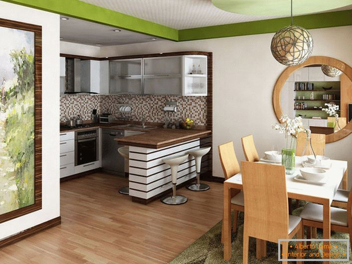 A small kitchen is combined with the living room. The design decision in this case is justified, since a useful space is not enough for the organization of two separate rooms.