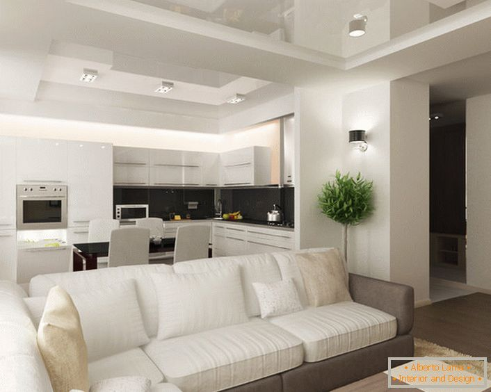 The combination of kitchen and living room is considered an effective solution in conditions of insufficient space.