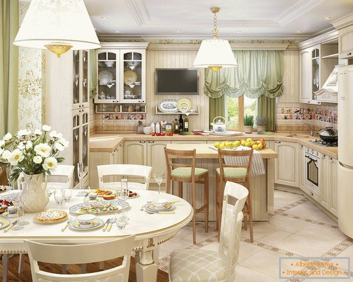 The kitchen, organized in the style of country country, is combined with the living room. Correct arrangement of light and decorative accents makes the room attractive and refined.