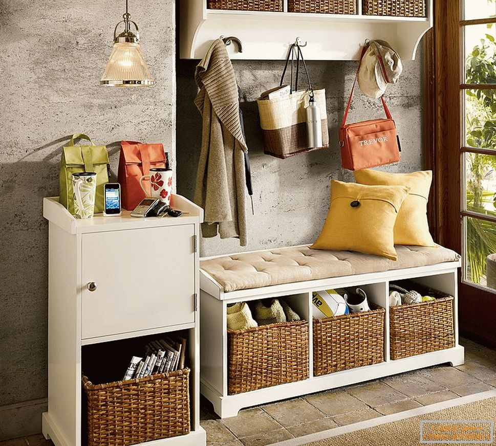 Baskets for storage in the hallway