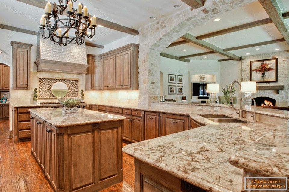 A wide arch in the kitchen