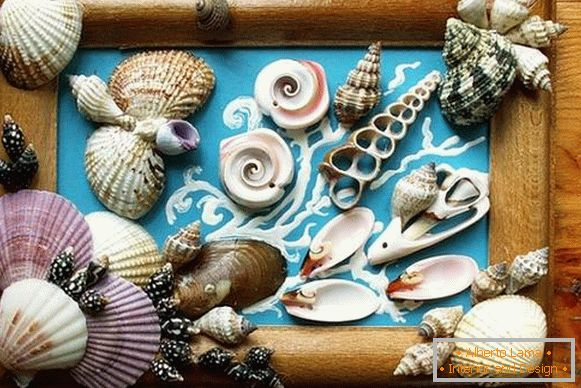 a panel of seashells and stones, photo 2