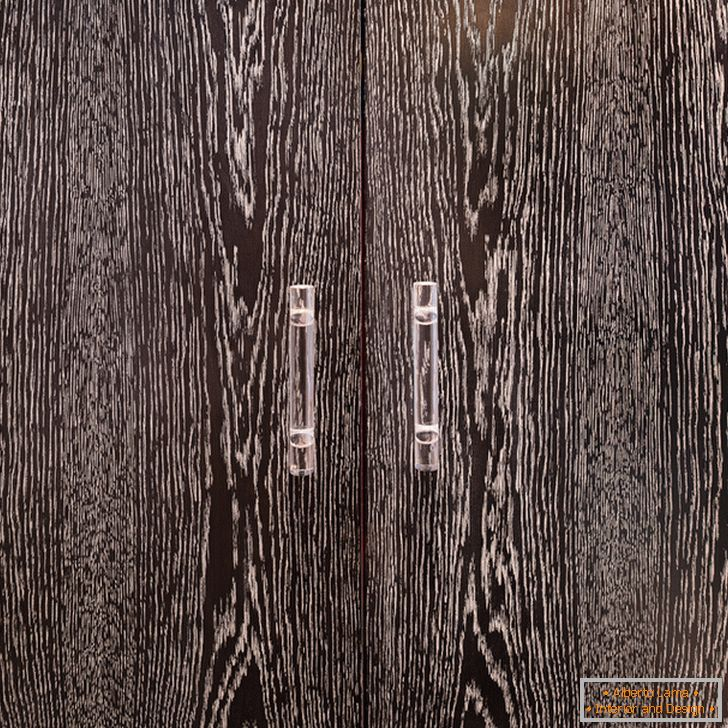 Cabinet doors made of dark wood