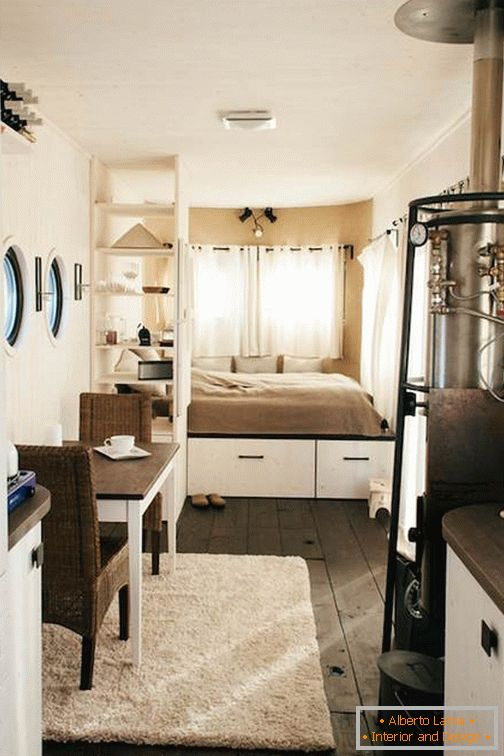 Interior design of a mobile home on wheels