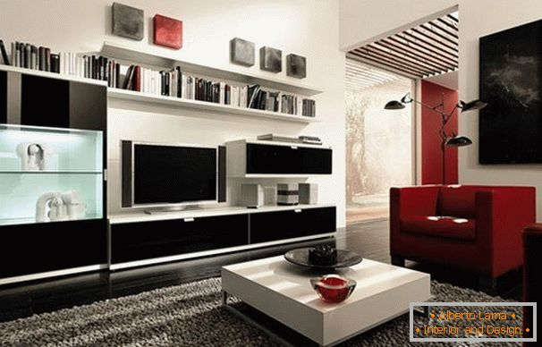Red and black accents in the white living room