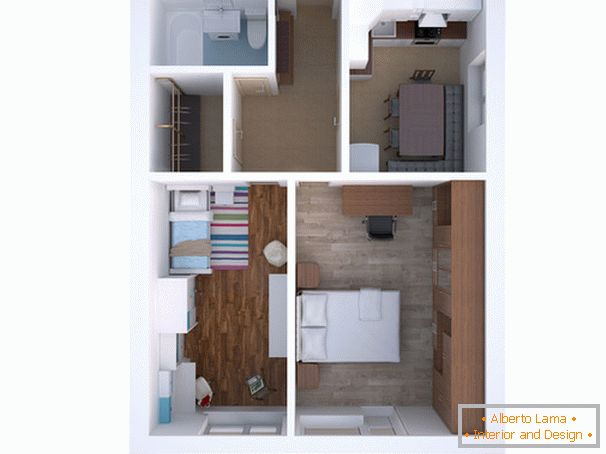 The layout of a two-room apartment для семьи с ребёнком
