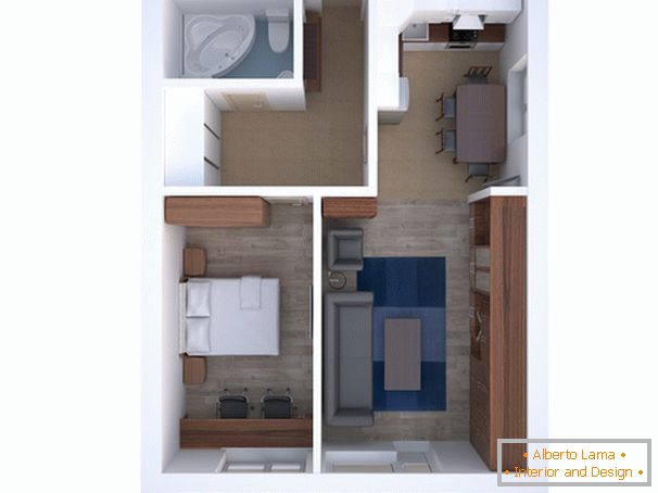 The layout of a two-room apartment для пары средних лет