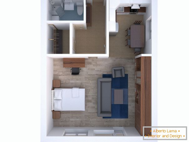 The layout of the studio apartment
