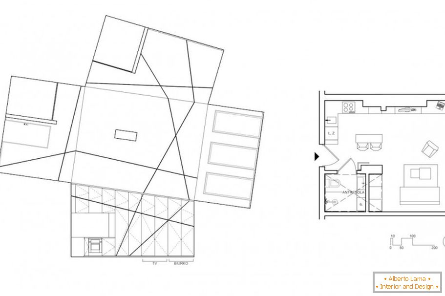 The plan of studio apartment Peter's Flat