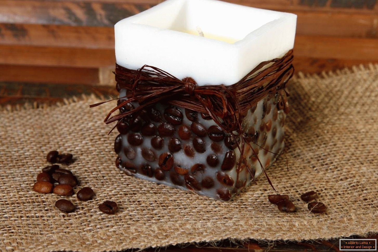 Decorating candles with coffee beans