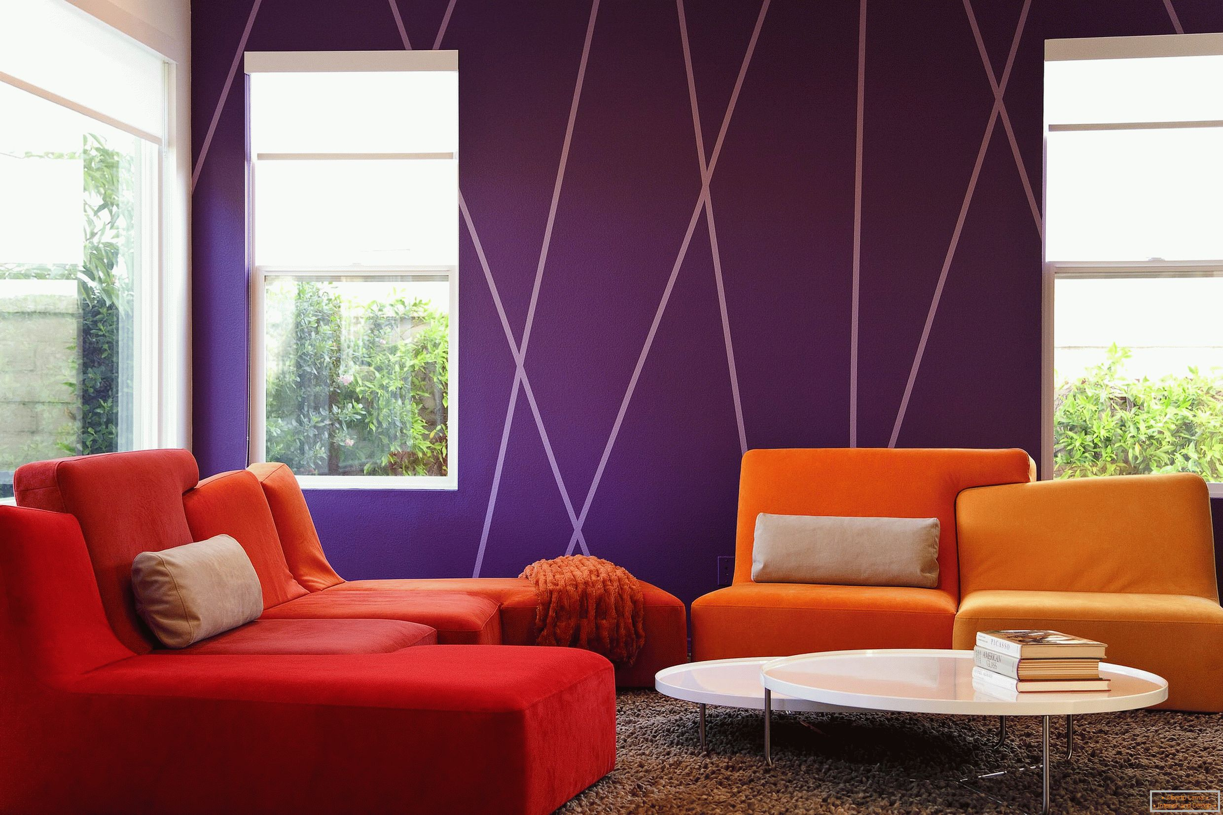 Purple walls in the living room