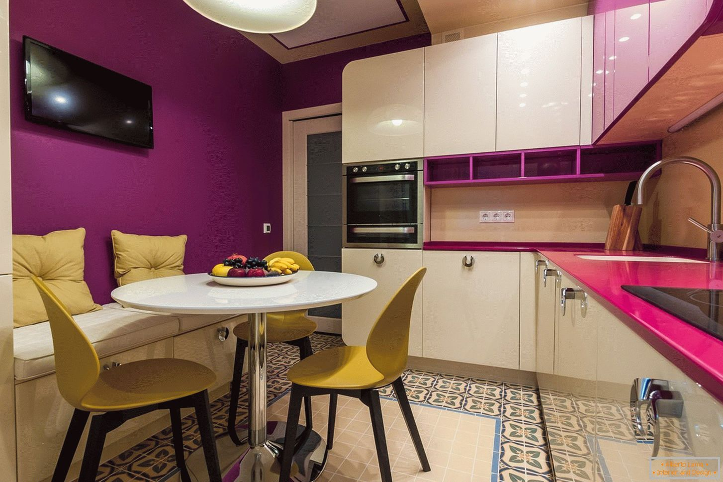 Purple wall in the kitchen