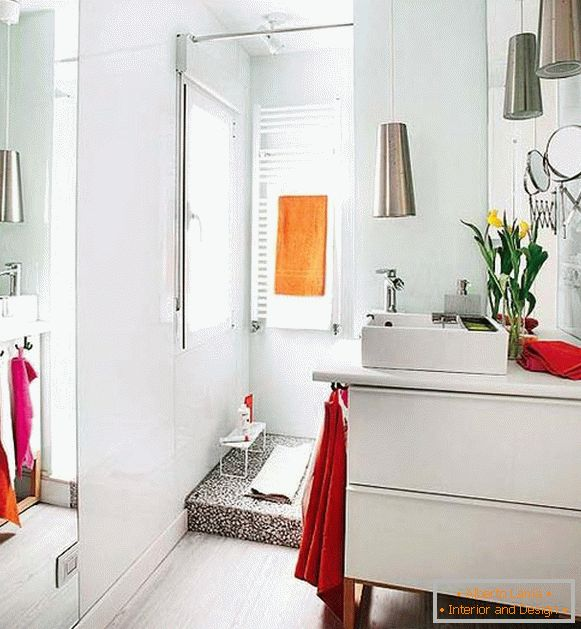 Bright bathroom of a small apartment in Spain