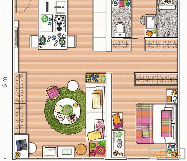 The plan of a small apartment in Spain