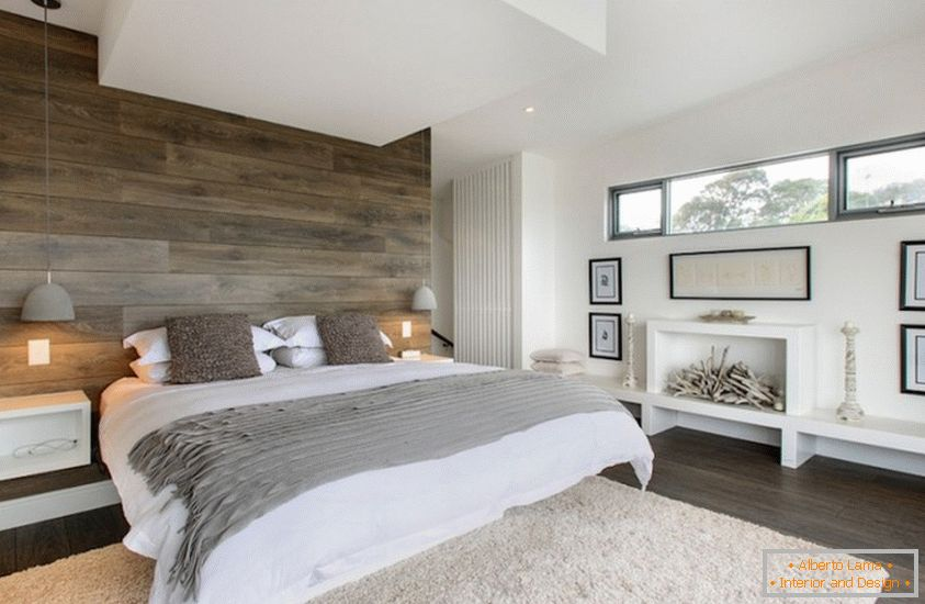 The interior of the bedroom, made of eco-friendly materials