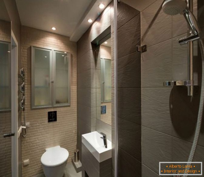 Bathroom of a small studio apartment in Kiev