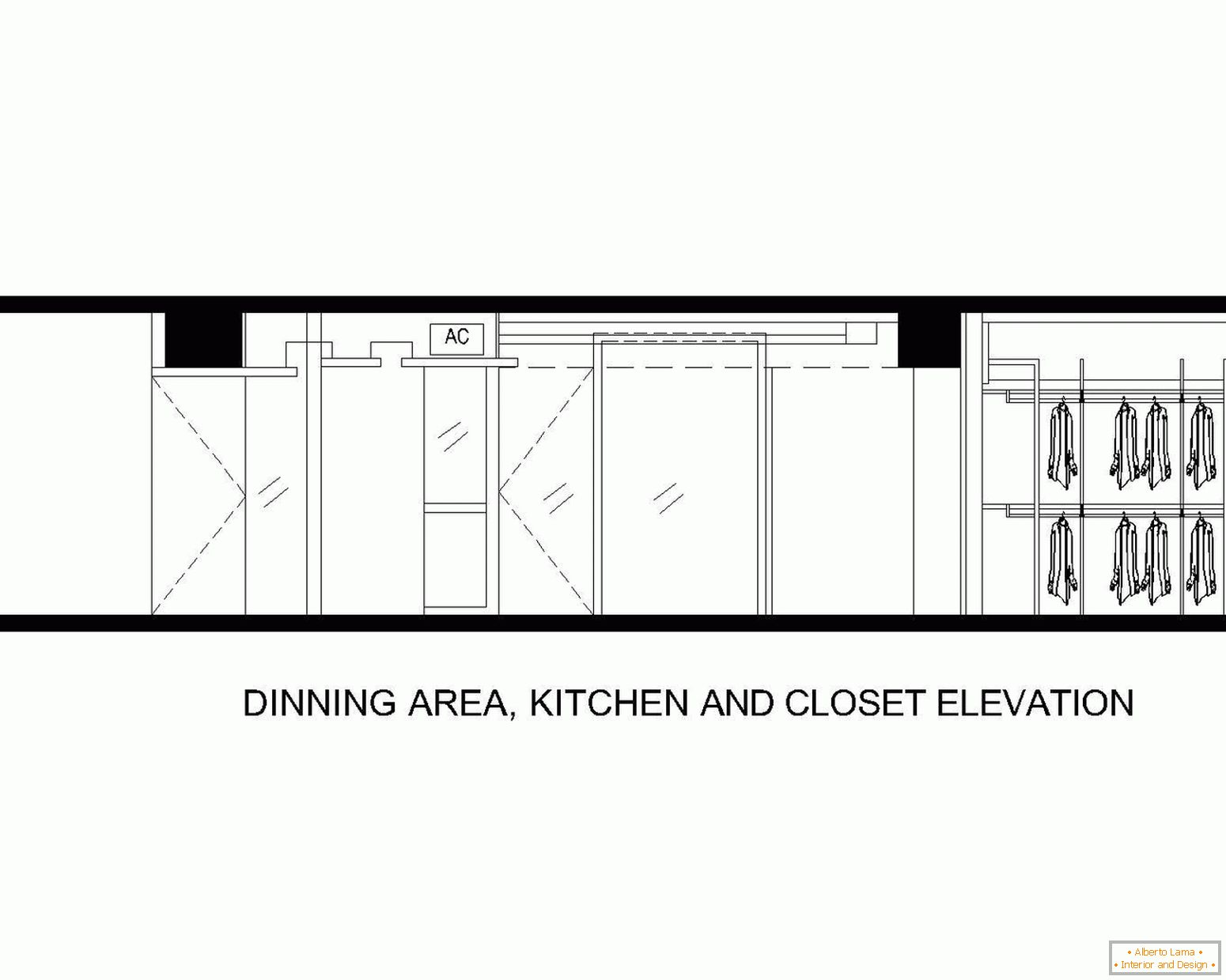 Layout of dining area, kitchen and bathroom