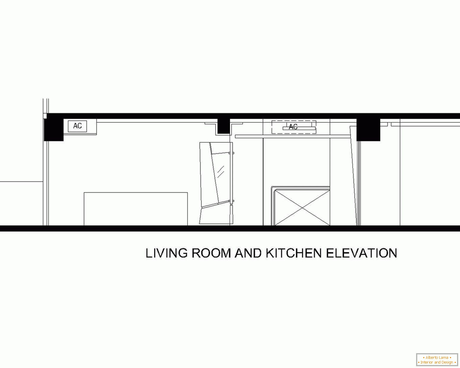 Layout of the living room and kitchen