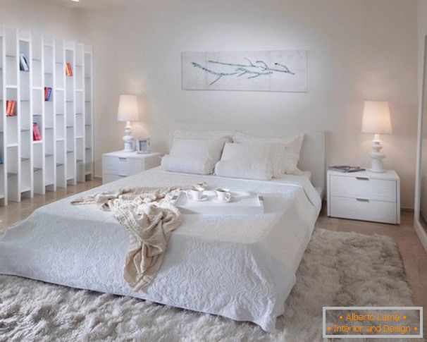 White color in the interior of the bedroom