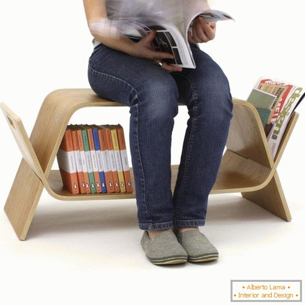 Chair with a niche for storing books