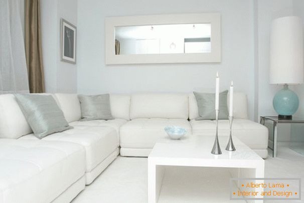 White color in the interior of the living room