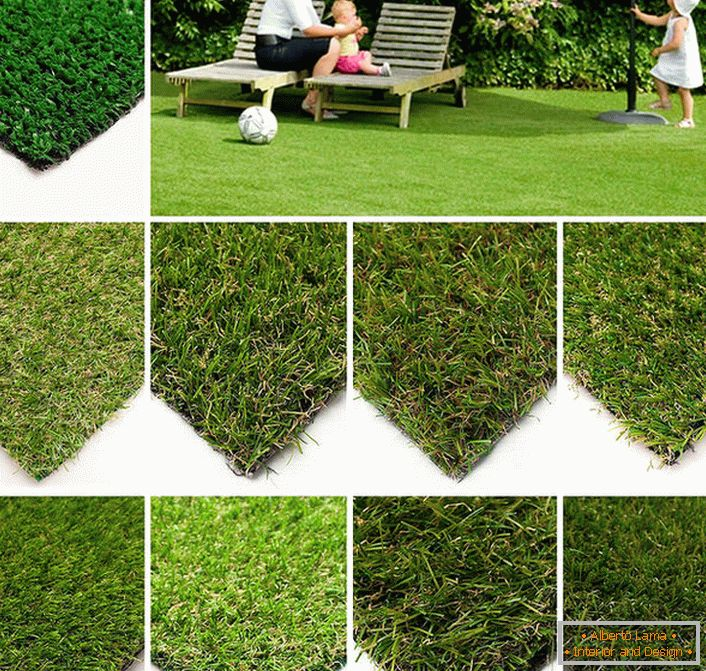 To give a respectable view to recreation areas on the plot you can choose an artificial lawn with different characteristics: the height of the pile, the density and width, the color of the lawn.