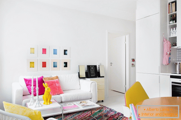 Colorful accents in the white interior