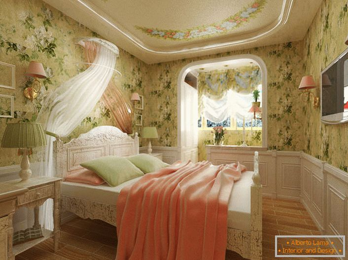Bedroom in the French style for a young lady. The unusual design intent is notable for the decoration of walls with a floral print.