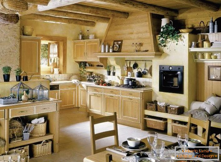 Kitchen in the French style of solid wood is decorated with flowers, which are evenly arranged around the room.